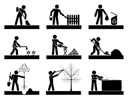 Pictograms representing people doing different backyard work. Icon set presenting 