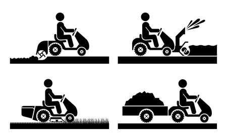 Pictogram icon set presenting agricultural machinery: compact tractor. Mini tractor in agricultural process and gardening, plowing, mowing, transporting, snow removal.