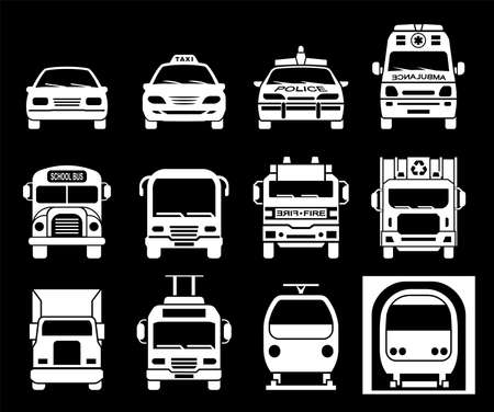 Collection of signs presenting different modes of transport on land. Set of front view icons of police car, ambulance car, fire department vehicle, taxi car, garbage collector, school bus, truck, metro and train. Transportation icons.