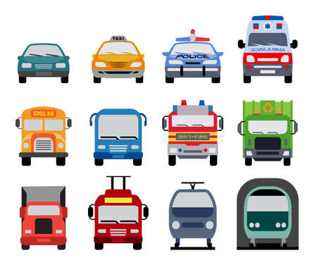 Collection of transportation icons presenting different modes of transport on land. Set of front view flat icons of police car, ambulance car, fire department vehicle, taxi car, garbage collector, school bus, truck, metro and train.  向量圖像