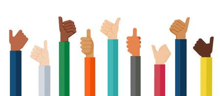 Ilustración de diseño plano de manos mostrando el pulgar hacia arriba. Ilustración de vector de manos que muestran un estado de ánimo positivo. Ilustración de vector