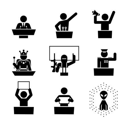 Politicians speakers. Icon set of debate rostrum and podium. Collection of pedestal, tribune and podium with microphone for conference. Vettoriali