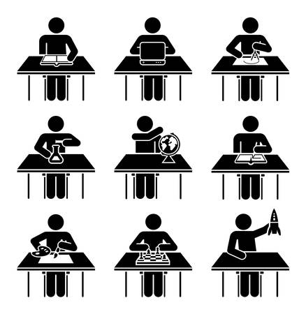 Students in school attending classes. Set of icons presenting education and different school subjects, science, art, history, geography, chemistry, maths, extracurricular activities, geometry, information technology.