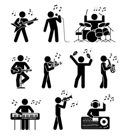 Pictogram icon set of different types of musicians. Different types of musical instruments. Club music.