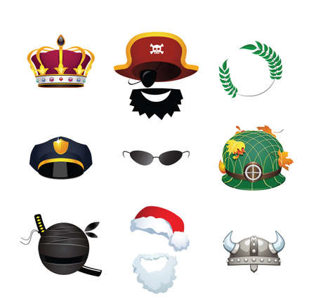Vector set of different masks and costumes. Illustration of costumes of King, Pirate, Caesar, Police Officer, Secret Agent, Soldier, Ninja, Viking and Santa Claus.