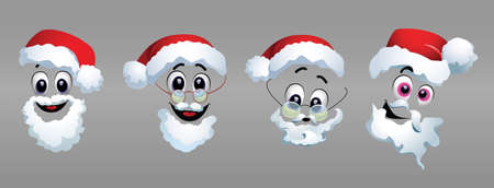 Vector set of different masks for Santa. Four different illustrations of Santa Claus costume. Happy New Year greeting card.