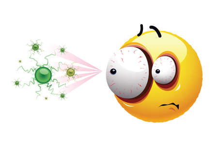Smiley ball scared by the virus. Freaked out face of smiley surrounded by viruses.
