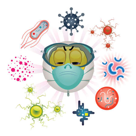 Coronavirus Infectious Disease. Smiley wearing protection mask surrounded by various types of viruses. Illustration