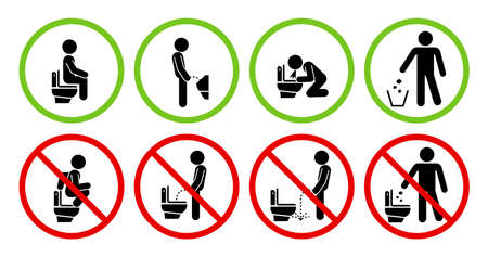 Set of toilet signs. WC icons. Restroom Signs Illustration. No pee sign. Set of prohibition signs.