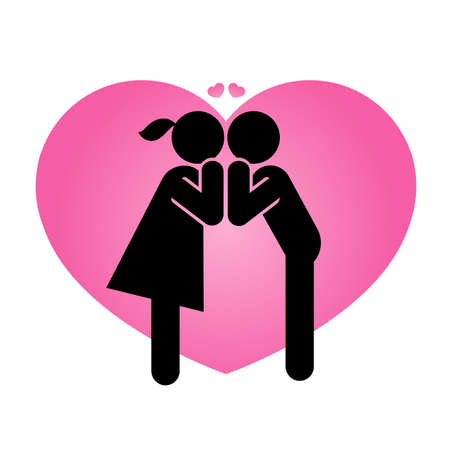 Pictogram representing a couple in love. A sign and symbol of romantic kisses and Valentines. 일러스트
