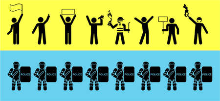 Set of icons that represent confrontation between police and demonstrators. Political Protests. Protesters pictogram concept.
