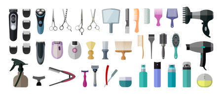 Flat icon set of tools for hairdressers. Set of accessories and tools for hair salons. Archivio Fotografico - 143067950