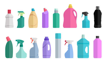 Flat icon bottles of cleaning supplies. Plastic bottles of household chemicals and cleaning products.