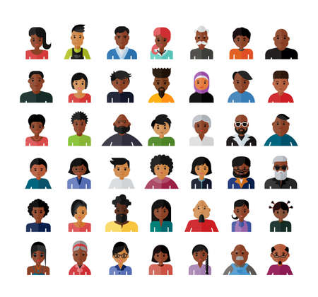 Ensemble d'icônes du design plat avatar personnes. Collection d'avatars liés à différents types de personnes.