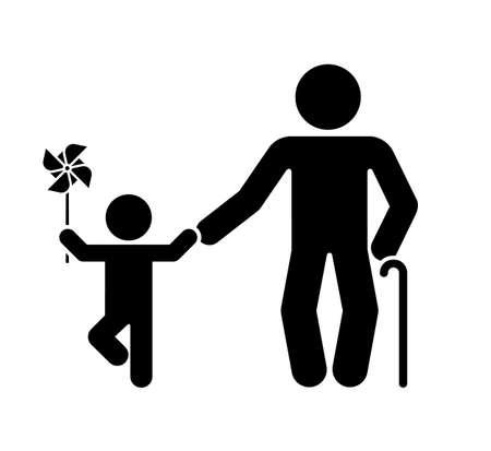 Pictogramme représentant le grand-père et le petit-fils. Différentes étapes de la vie humaine.