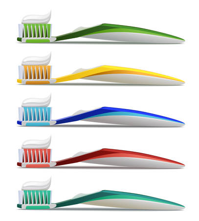 Toothbrushes in various colors. Realistic vector illustration of toothbrush and toothpaste Isolated on white background. Ilustração