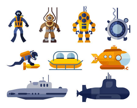 Collection of icons presenting different models of diving suit and submarines. Set of flat icons of underwater transport. 版權商用圖片 - 147762696
