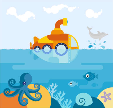 A submarine at sea. Flat illustration of a submarine floating in the ocean. 版權商用圖片 - 147761432