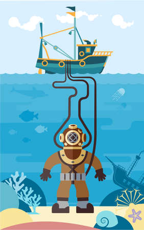 The diver explores the underwater world. Flat illustration of a diver in the ocean.
