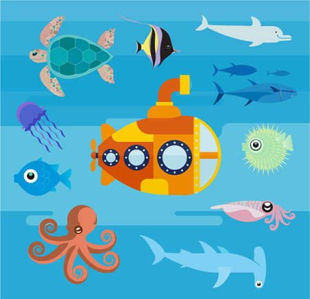 A submarine at sea. Flat illustration of a submarine floating in the ocean. Set of flat icons of underwater life. 版權商用圖片 - 147762169