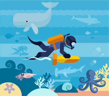 The diver explores the underwater world. Flat illustration of a diver in the ocean. 版權商用圖片 - 147762038