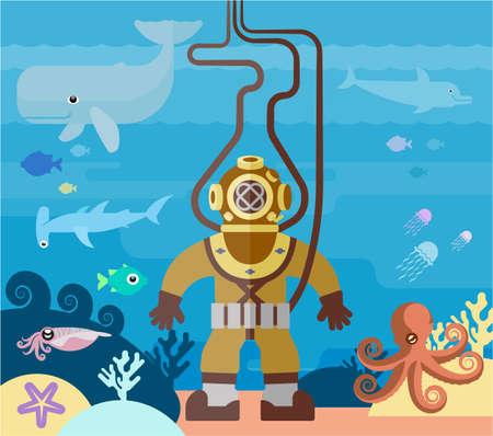 Le plongeur explore le monde sous-marin. Illustration plate d'un plongeur dans l'océan.
