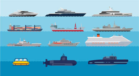 Collection of icons presenting different types of ships and submarines. Set of flat icons of water transport. Flat illustration of overseas ships.  向量圖像