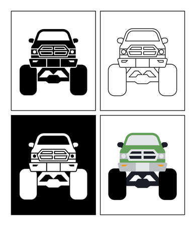 Modified car symbol presented as pictogram, black and white, line icons and flat icons. Set of transportation icons.