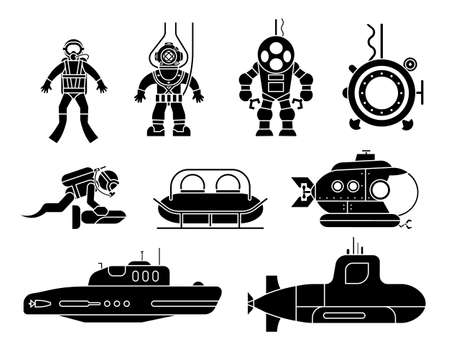 Collection of icons presenting different models of diving suit and submarines. Set of icons of underwater transport. 版權商用圖片 - 147763707