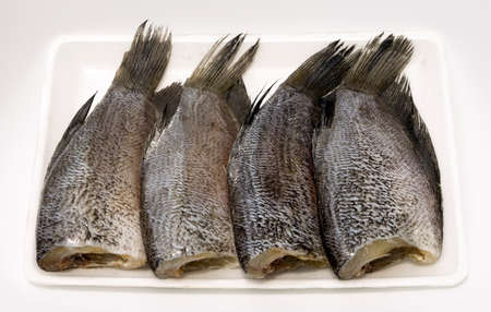 pectorals: Snake Skin Gourami Fish,Pla Salit (Trichogaster pectoralis) on a white tray