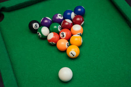 American billiards pool on a green table background