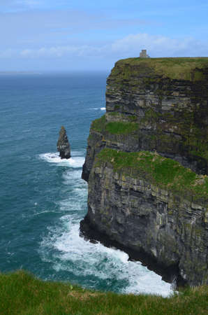 moher: Beautiful towering Cliffs of Moher in Ireland.