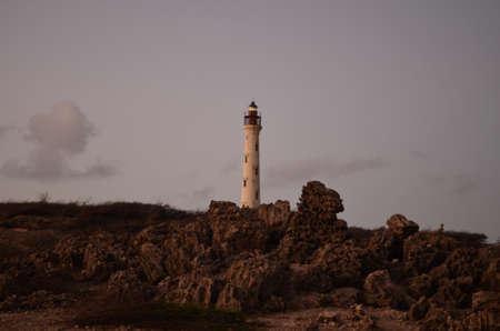 noord: California lighthouse in Noord, Aruba at dawn. Stock Photo