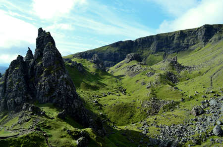 rock formation: Pinnacle rock formation on the Isle of Skye in Trotternish Scotland. Stock Photo