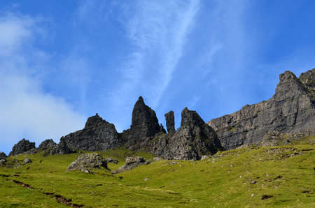 Unusual rock formation at Old Man of Storr in Scotland.