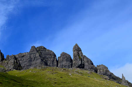 scot: Scenic view of the Old Man of Storr in Skye Scotland. Stock Photo