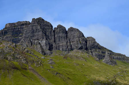 Winding hiking trails up to the Old Man of Storr on Skye Scotland. Stock Photo
