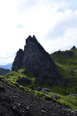 scot: Pinnacle rock formation on the Isle of Skye in Trotternish.