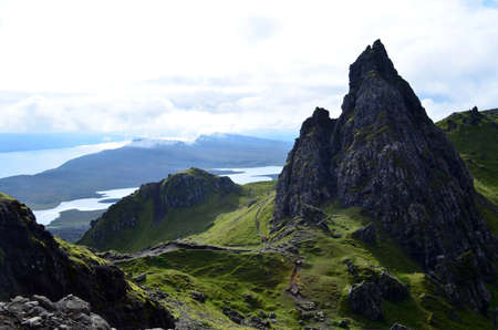 Views of sound of Rasaay from Old Man of Storr on the Isle of Skye.