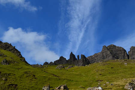 Winding hiking trail to Old Man of Storr in Scotland.