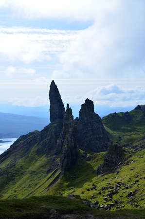 skye: Gorgeous vista views of the Old Man of Storr on the Isle of Skye. Stock Photo