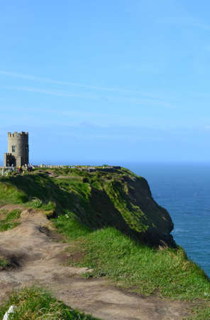 Views of Galway bay and OBriens Tower in Ireland.
