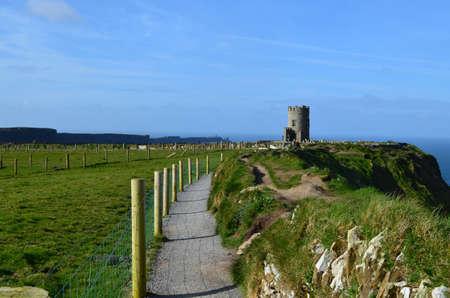 Burren way on the Cliffs of Moher in Ireland.