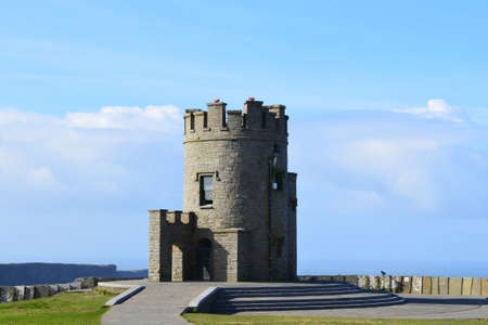 doolin: OBriens stone tower perched on the Irish Cliffs of Moher. Stock Photo