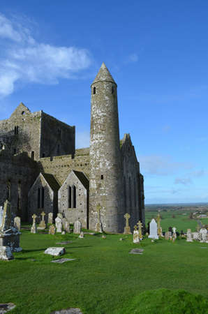 irish countryside: The round tower at the Rock of Cashel in Ireland.