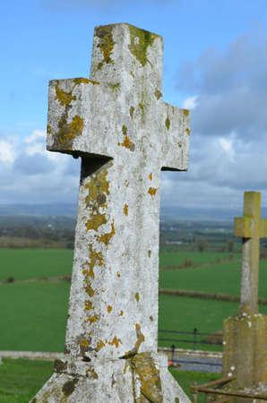 Pietra croci nel cimitero di fuori della Rocca di Cashel. Archivio Fotografico - 62018330