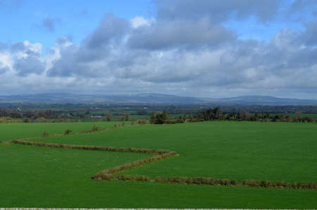irish countryside: Lush green fields as seen from the Rock of Cashel.