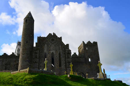 irish countryside: Rock of Cashel on the top of a hill in Ireland.