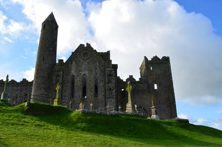 irish countryside: Ruins of the Rock of Cashel a top the hill in Cashel. Stock Photo