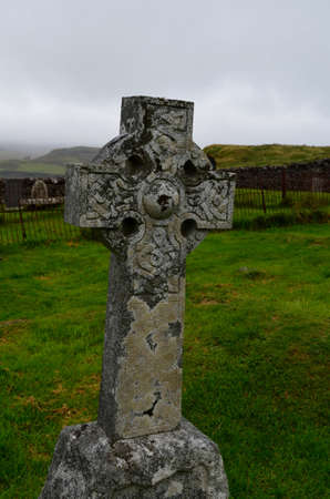 Burial stone at Dunvegan cemetery on the Isle of Skye.